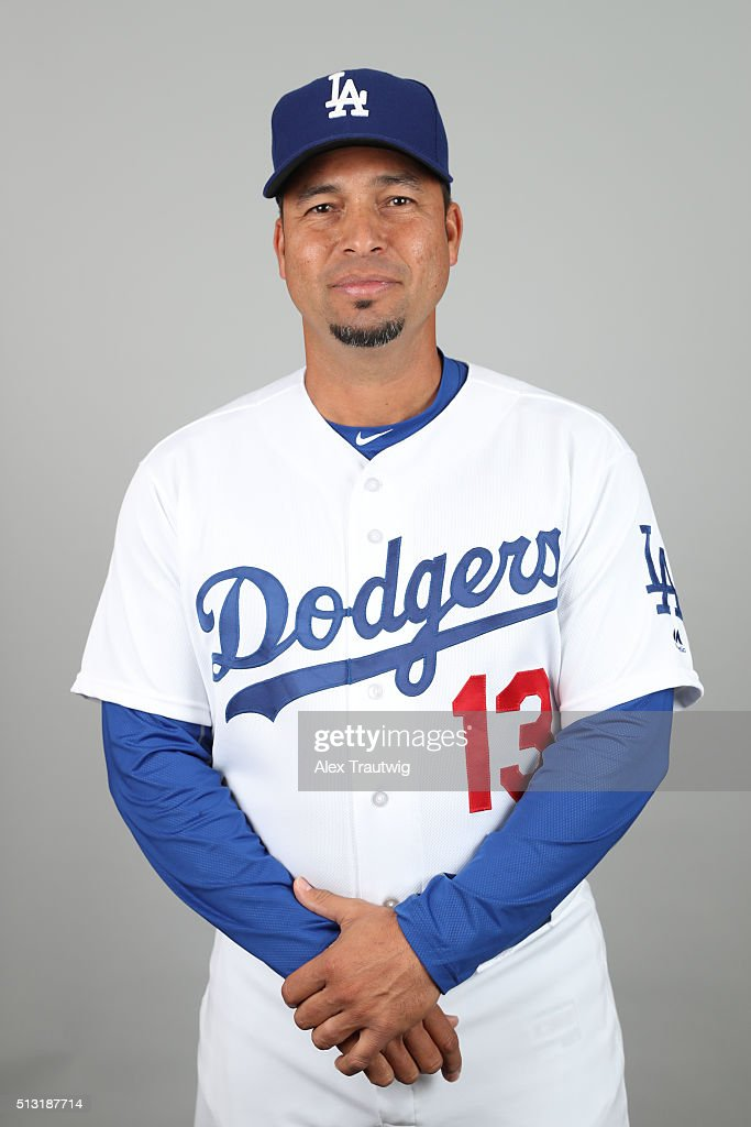 Coach <a gi-track='captionPersonalityLinkClicked' href=/galleries/search?phrase=Juan+Castro&family=editorial&specificpeople=210684 ng-click='$event.stopPropagation()'>Juan Castro</a> #13 of the Los Angeles Dodgers poses during Photo Day on Saturday, February 27, 2016 at Camelback Ranch in Glendale, Arizona.