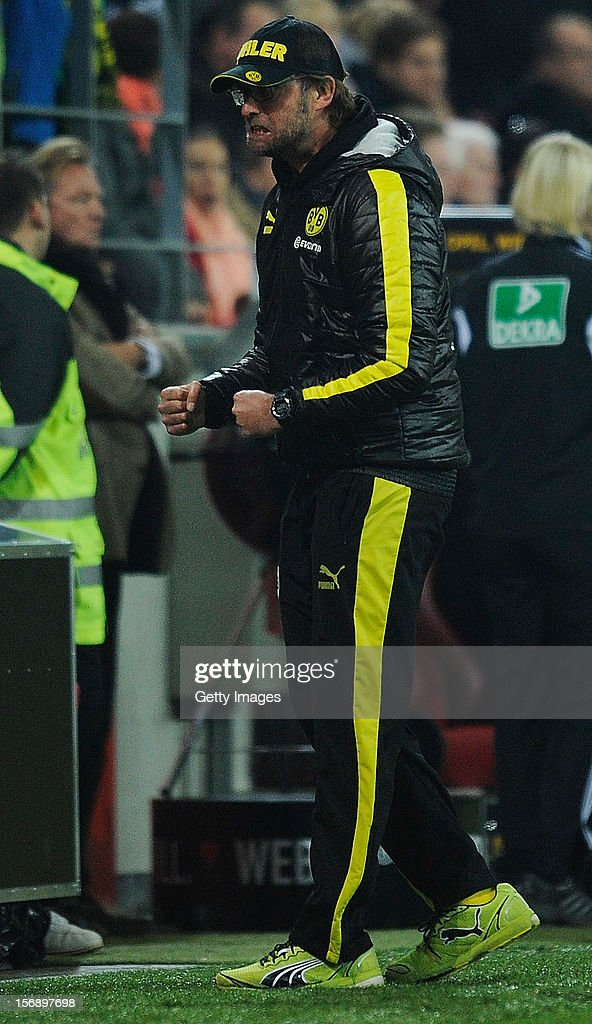 Coach Juergen Klopp of Dortmund reacts after the Bundesliga match between 1. FSV Mainz 05 and Borussia Dortmund at Coface Arena on November 24, 2012 in Mainz, Germany.