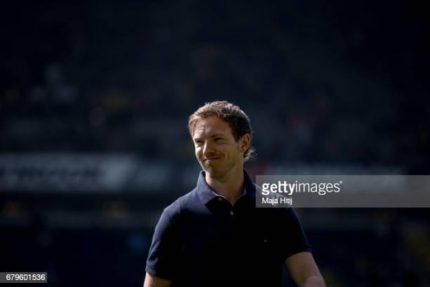Coach Julian Nagelsmann of Hoffenheim smiles prior the Bundesliga match between Borussia Dortmund and TSG 1899 Hoffenheim at Signal Iduna Park on May...