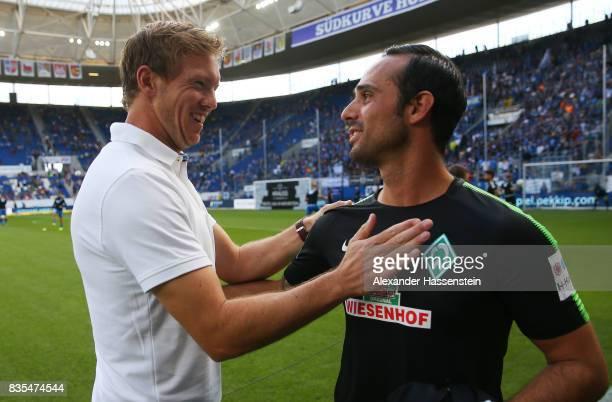 Coach Julian Nagelsmann of TSG 1899 Hoffenheim and coach Alexander Nouri of Werder Bremen during the Bundesliga match between TSG 1899 Hoffenheim and...