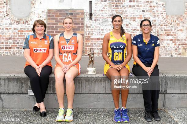 Coach Julie Fitzgerald Captain Jo Harten of the Giants Captain Geva Mentor and Coach Noeline Taurua of the Sunshine Coast Lightning pose for a photo...
