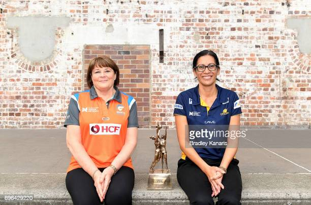 Coach Julie Fitzgerald of the Giants and Coach Noeline Taurua of the Sunshine Coast Lightning pose for a photo during the Super Netball Grand Final...