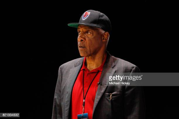 Coach Julius 'Dr J' Erving of TriState looks on during the game against the Trilogy during week five of the BIG3 three on three basketball league at...