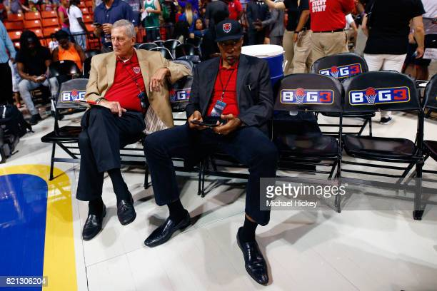 Coach Julius Dr J Erving of TriState sits on the floor before the game against the Trilogy during week five of the BIG3 three on three basketball...