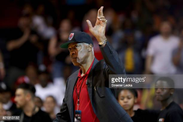 Coach Julius 'Dr J' Erving of TriState waves to the crowd during week five of the BIG3 three on three basketball league at UIC Pavilion on July 23...