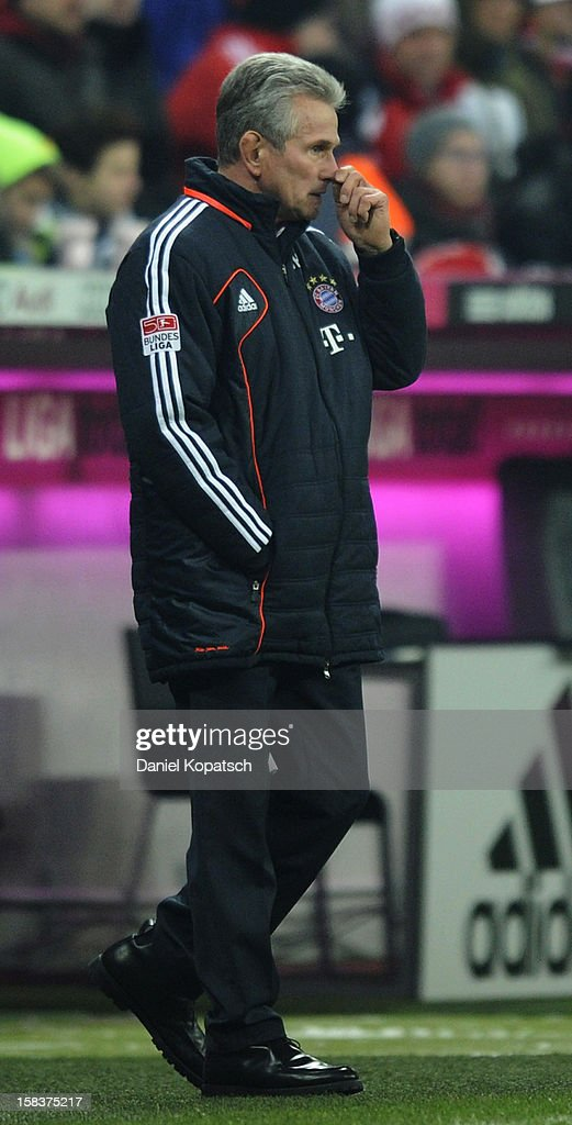 Coach Jupp Heynckes of Muenchen reacts during the Bundesliga match between FC Bayern Muenchen and VfL Borussia Moenchengladbach at Allianz Arena on December 14, 2012 in Munich, Germany.