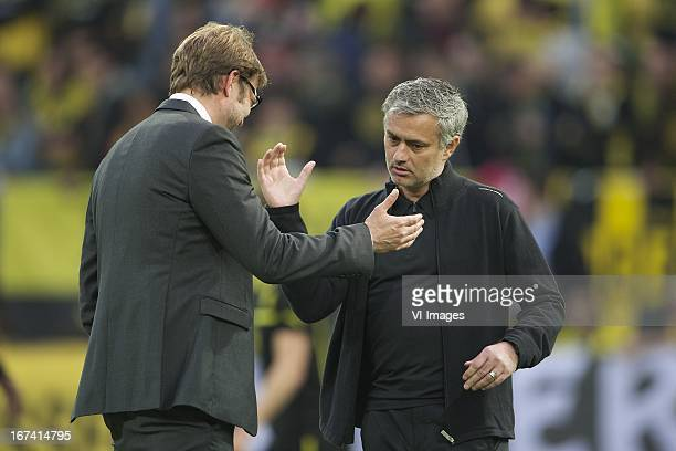 coach Jurgen Klopp of Borussia Dortmund coach Jose Mourinho of Real Madrid during the UEFA Champions League match between Borussia Dortmund and Real...