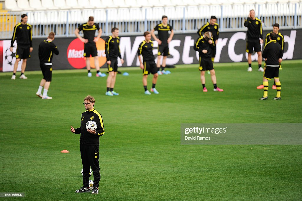 Coach Jurgen Klopp of Borussia Dortmund looks on during training session ahead of the UEFA Champions League quarter-final first leg match against Malaga CF, at La Rosaleda Stadium on April 2, 2013 in Malaga, Spain.