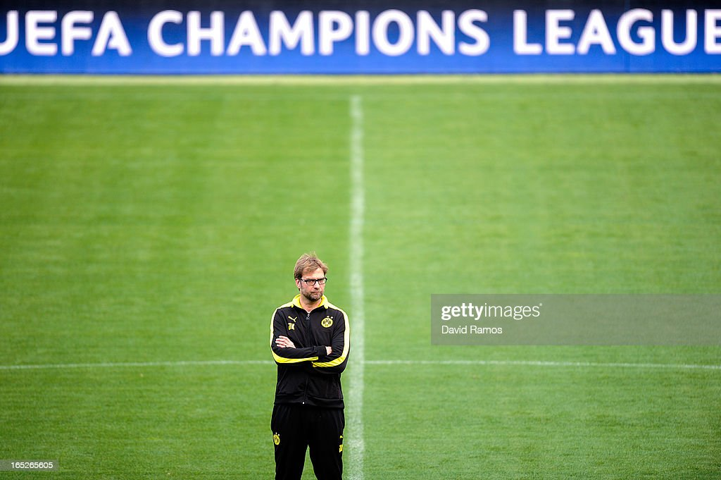 Coach Jurgen Klopp of Borussia Dortmund looks on during training session ahead of the UEFA Champions League quarter-final first leg match against Malaga CF at La Rosaleda Stadium on April 2, 2013 in Malaga, Spain.