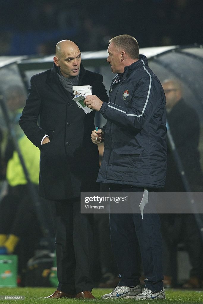 coach Jurgen Streppel of Willem II, assistant trainer John Feskens of Willem II during the Dutch Eredivisie match between Willem II and Heracles Almelo at the Koning Willem II Stadium on November 24, 2012 in Tilburg, The Netherlands.