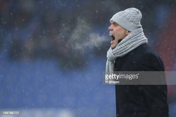 Coach Jurgen Streppel of Willem II during the Dutch Eredivise match between Willem II and ADO Den Haag at the Koning Willem II Stadium on January 20...