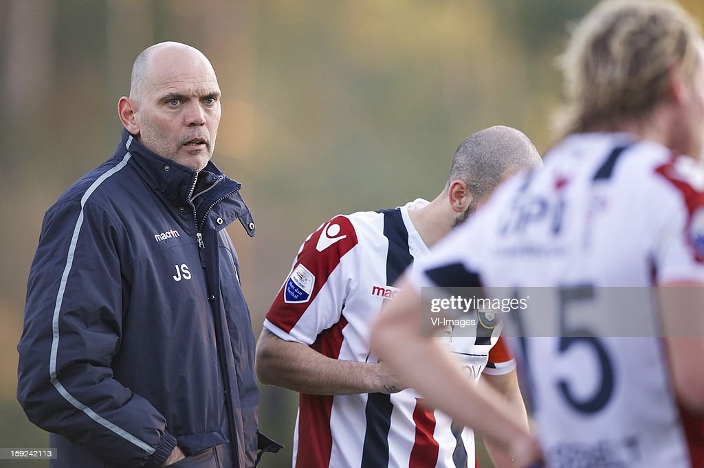coach Jurgen Streppel of Willem II, Niek Vossebelt of Willem II during the match between Willem II and Karabukspor on January 10, 2013 at Belek, Turkey.