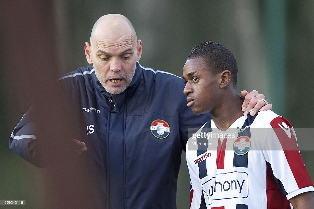 coach Jurgen Streppel of Willem II, Virgil Misidjan of Willem II during the match between Willem II and Karabukspor on January 10, 2013 at Belek, Turkey.