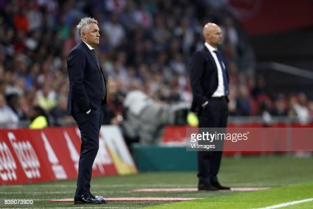 coach Kare Ingebrigtsen of Rosenborg BK coach Marcel Keizer of Ajax during the UEFA Europa League fourth round qualifying first leg match between...