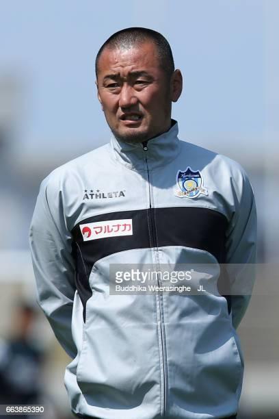 Coach Kenichi Uemura of Kamatamare Sanuki looks on prior to the JLeague J2 match between Kamatamare Sanuki and Shonan Bellmare at Pikara Stadium on...