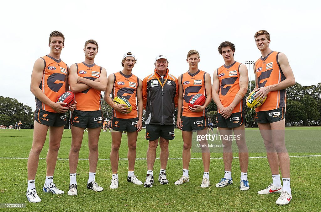 GWS Coach <a gi-track='captionPersonalityLinkClicked' href=/galleries/search?phrase=Kevin+Sheedy&family=editorial&specificpeople=204695 ng-click='$event.stopPropagation()'>Kevin Sheedy</a> (C) poses with new draft players (L-R) Aidan Corr, Christian Jaksch, Jonathan O'Rouke, <a gi-track='captionPersonalityLinkClicked' href=/galleries/search?phrase=Lachie+Whitfield&family=editorial&specificpeople=7917185 ng-click='$event.stopPropagation()'>Lachie Whitfield</a>, Lachie Plowman and James Stewart during a Greater Western Sydney Giants AFL pre-season training session at Lakeside Oval on November 28, 2012 in Sydney, Australia.