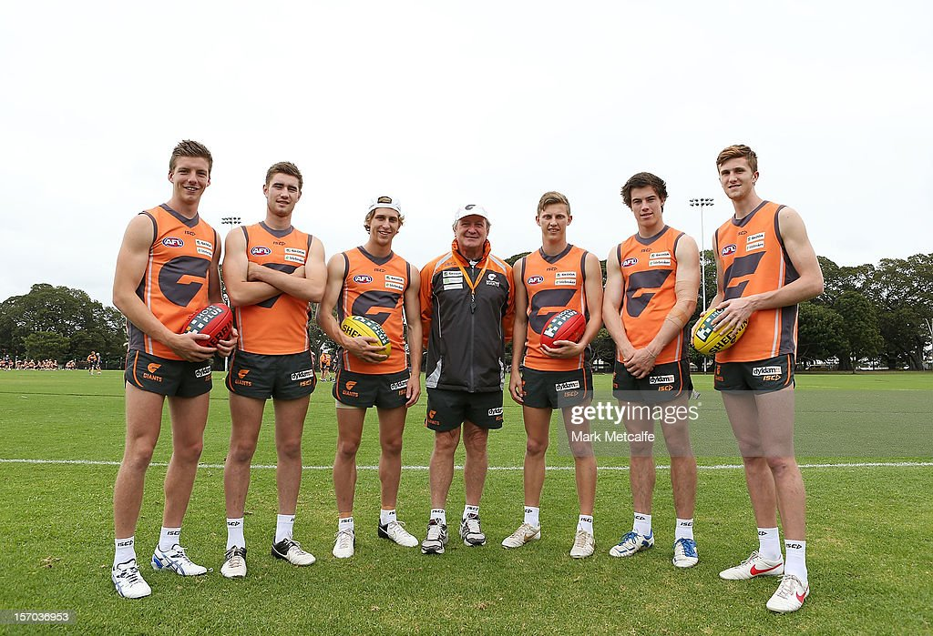 Coach Kevin Sheedy poses with new draft players (L-R) Aidan Corr, Christian Jaksch, Jonathan O'Rouke, Lachie Whitfield, Lachie Plowman and James Stewart during a Greater Western Sydney Giants AFL pre-season training session at Lakeside Oval on November 28, 2012 in Sydney, Australia.