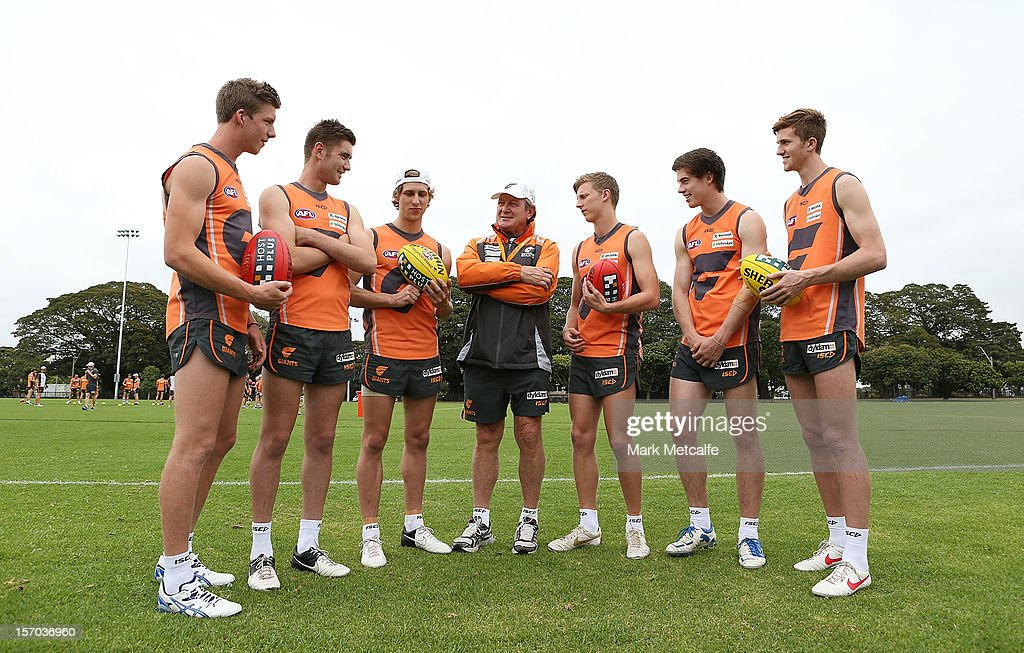 Coach Kevin Sheedy talks with new draft players (L-R) Aidan Corr, Christian Jaksch, Jonathan O'Rouke, Lachie Whitfield, Lachie Plowman and James Stewart during a Greater Western Sydney Giants AFL pre-season training session at Lakeside Oval on November 28, 2012 in Sydney, Australia.