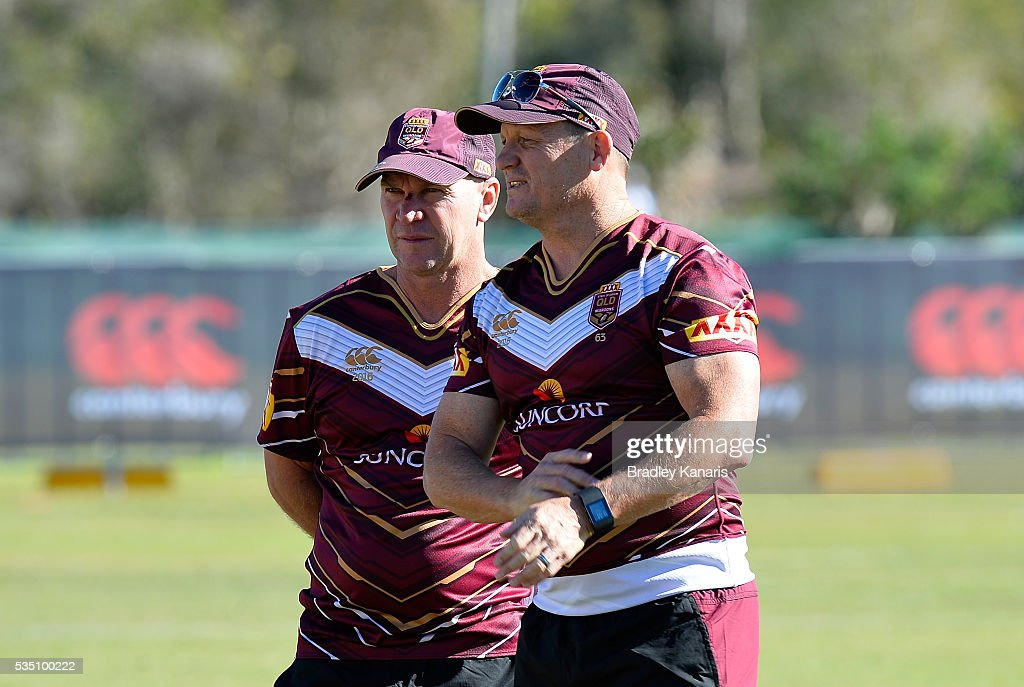 Coach Kevin Walters and Allan Langer are seen chatting during a Queensland Maroons State of Origin training session on May 29, 2016 in Gold Coast, Australia.
