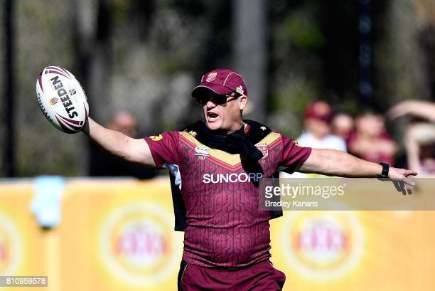 Coach Kevin Walters calls out instructions to his players during a Queensland Maroons State of Origin training session at Sanctuary Cove on July 9...