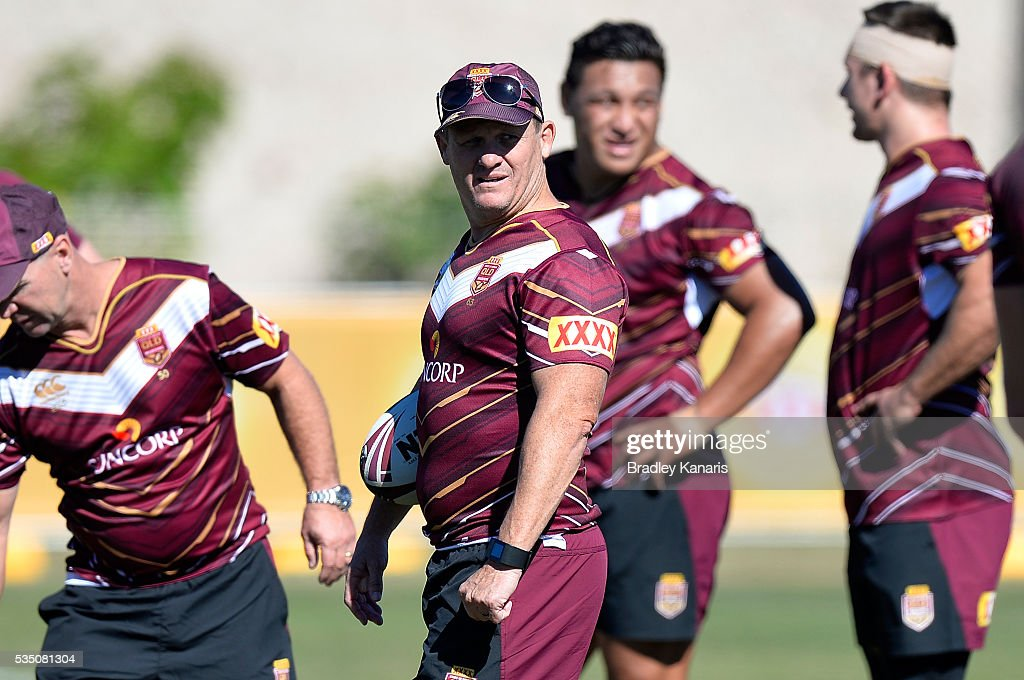 Coach Kevin Walters during a Queensland Maroons State of Origin training session on May 29, 2016 in Gold Coast, Australia.