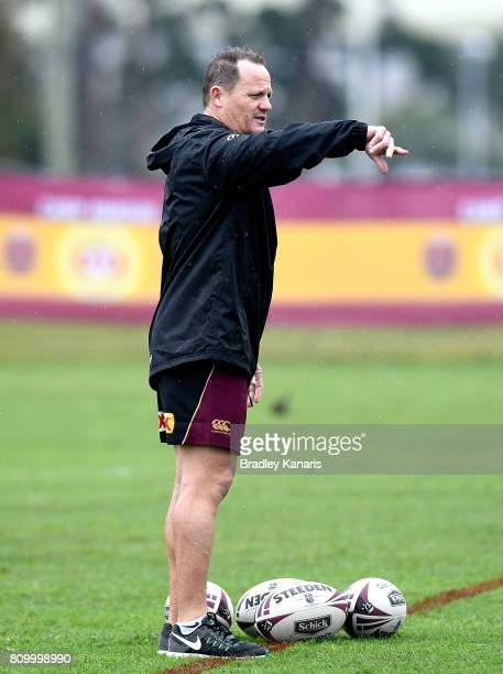 Coach Kevin Walters gives directions during a Queensland Maroons State of Origin training session at Sanctuary Cove on July 7 2017 in Brisbane...