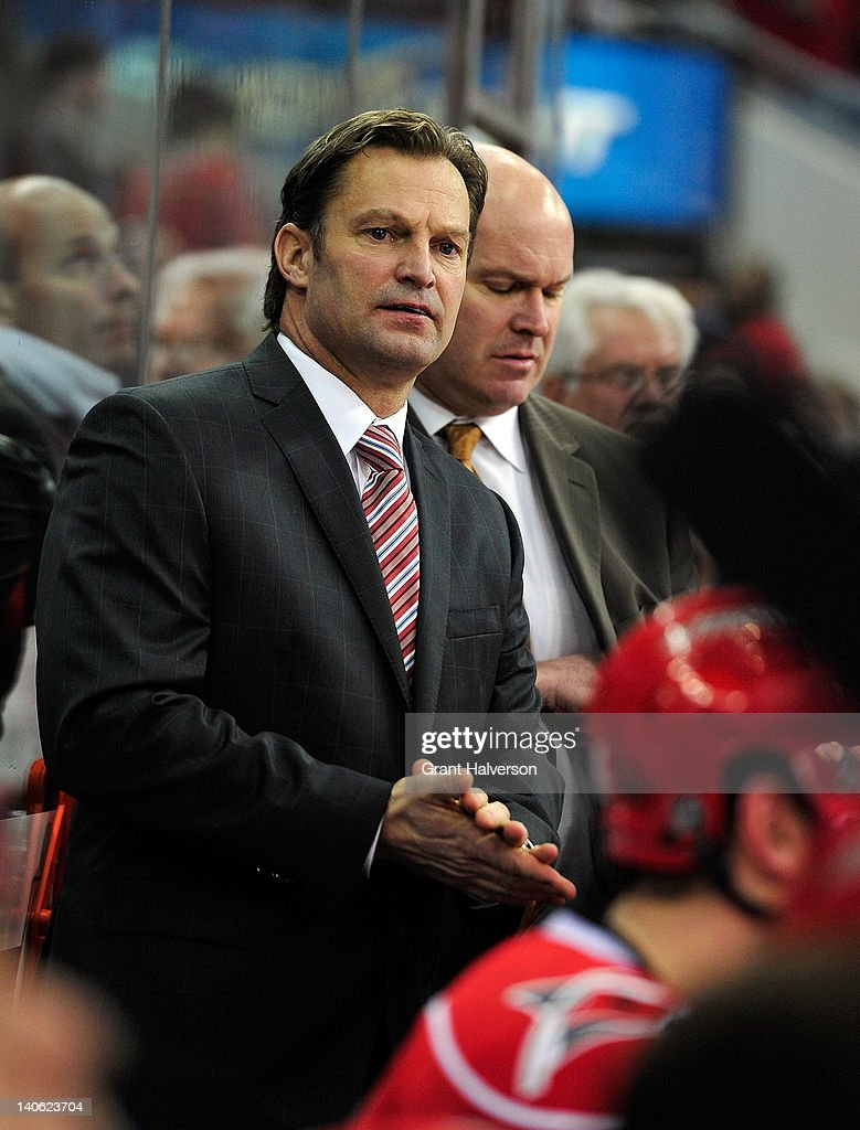 Coach Kirk Muller of the Carolina Hurricanes against the Nashville Predators during play at the RBC Center on February 28, 2012 in Raleigh, North Carolina. The Hurricanes won 4-3.