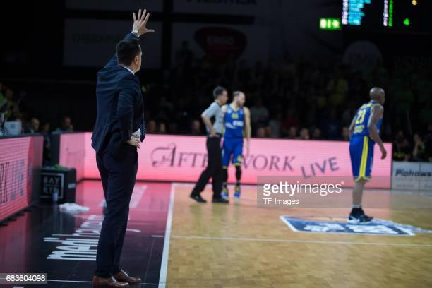 Coach Korner Raoul of medi bayreuth gestures during the easyCredit BBL match between medi bayreuth and EWE Baskets Oldenburg at Oberfrankenhalle on...