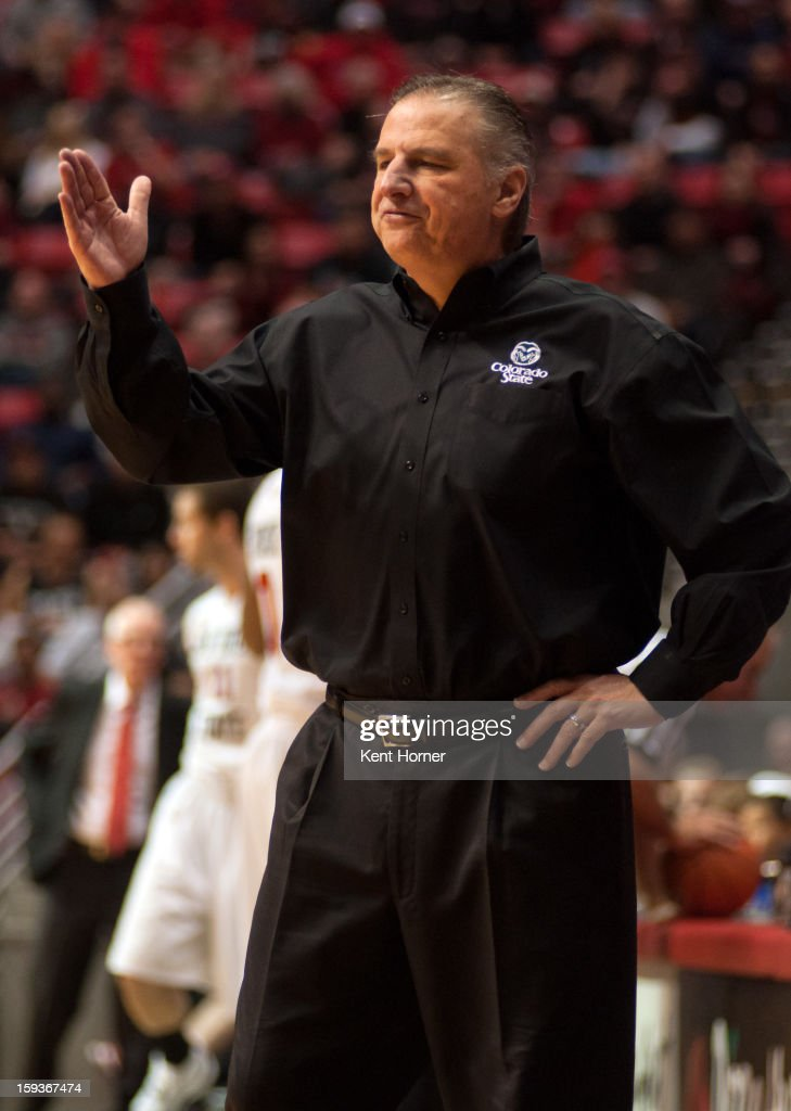 Coach Larry Eustachy of the Colorado State Rams yells in disagreement with the referee in the first half of the game against the San Diego State Aztecs at Viejas Arena on January 12, 2013 in San Diego, California.