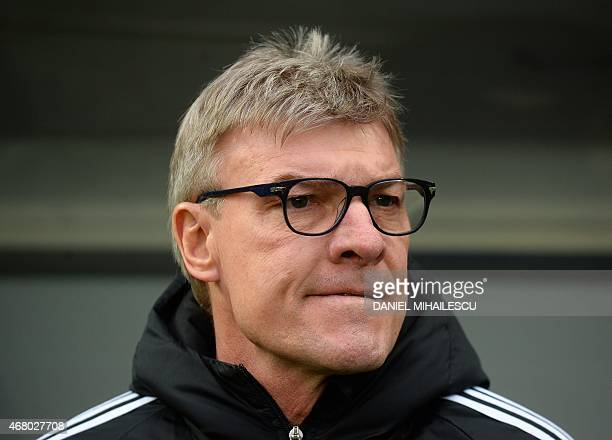 Coach Lars Olsen of Faroe Islands looks on prior the Group F Euro 2016 qualifying football match between Romania and Faroe Islands on March 29 2015...