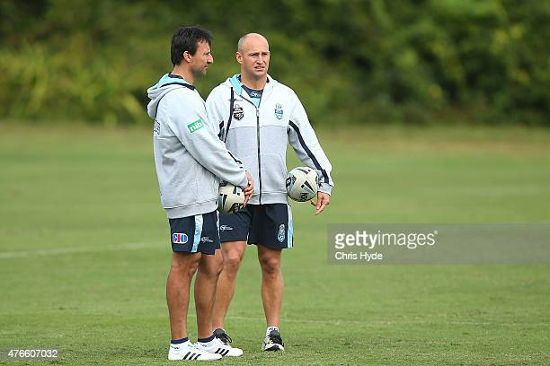 Coach Laurie Daley and assistant coach Nathan Brown during the New South Wales Blues State of Origin team training session at the Novotel on June 11...