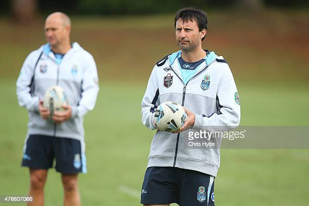 Coach Laurie Daley and assistant coach Nathan Brown looks on during the New South Wales Blues State of Origin team training session at the Novotel on...