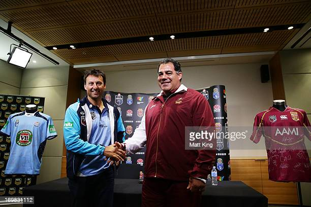NSW coach Laurie Daley and Queensland coach Mal Meninga shake hands during a State of Origin press conference at Rugby League Central on June 3 2013...