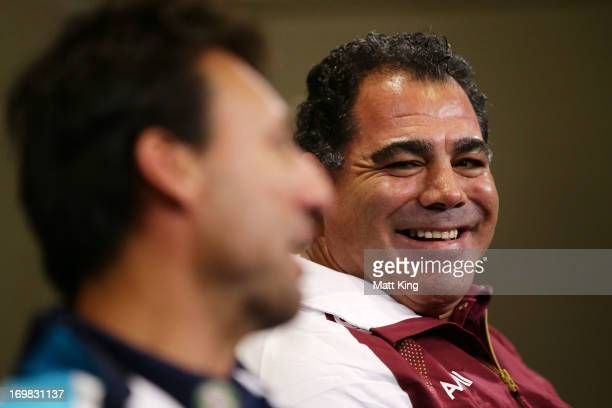 NSW coach Laurie Daley and Queensland coach Mal Meninga speak to the media during a State of Origin press conference at Rugby League Central on June...