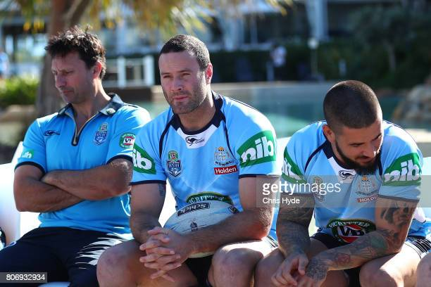 Coach Laurie Daley Boyd Cordner and Nathan Peats during the New South Wales Blues State of Origin media opportunity at Salt Beach on July 4 2017 in...