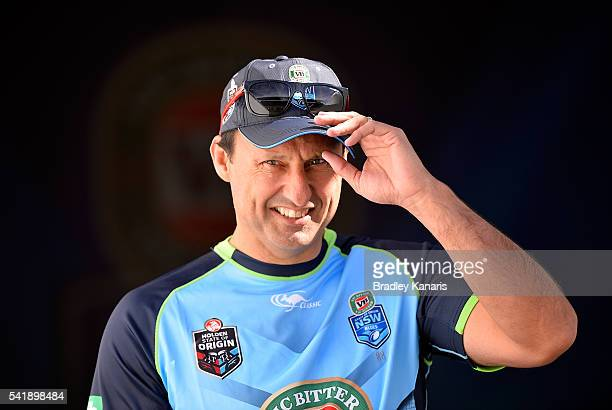 Coach Laurie Daley enters the field of play during a New South Wales Blues State of Origin training session at Suncorp Stadium on June 21 2016 in...