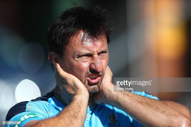 Coach Laurie Daley looks on during a New South Wales Blues State of Origin Training Session on July 8 2017 in Kingscliff Australia