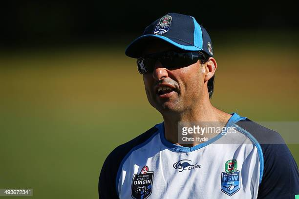 Coach Laurie Daley looks on during the New South Wales Blues State of Origin training session on May 25 2014 in Coffs Harbour Australia