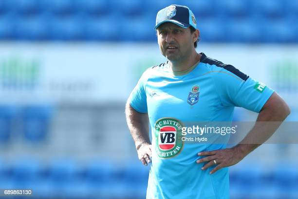 Coach Laurie Daley looks on during the New South Wales Blues State of Origin captain's run at Cbus Super Stadium on May 30 2017 in Gold Coast...