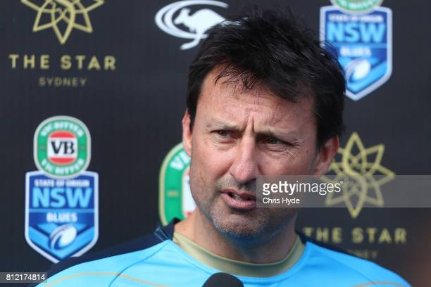 Coach Laurie Daley speaks to media during the New South Wales Blues State of Origin training session at Cbus Super Stadium on July 11 2017 in Gold...