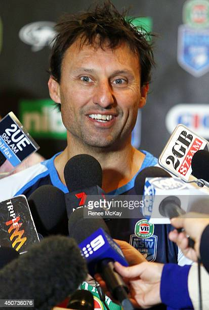 Coach Laurie Daley speaks to the media during a New South Wales Blues State of Origin media session at the Hotel Pullman on June 17 2014 in Sydney...