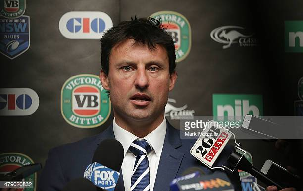 Coach Laurie Daley talks to media during the New South Wales Blues State of Origin team announcement at Revesby Workers Club on June 30 2015 in...