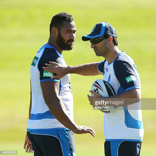 Coach Laurie Daley talks to Tony Williams during a New South Wales Blues State of Origin training session at Novotel Coffs Harbour on May 21 2014 in...