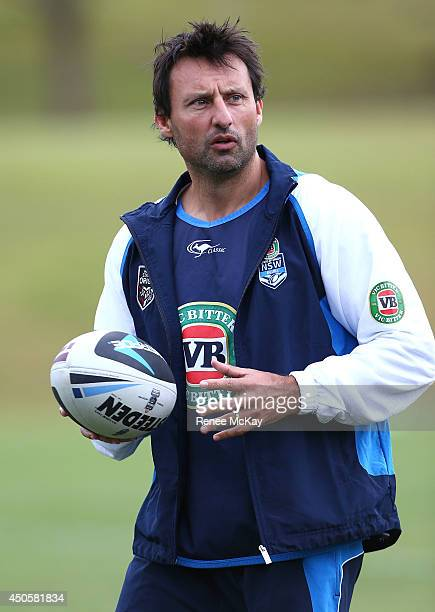 Coach Laurie Daley watches his team during a New South Wales State of Origin training session at Novotel Coffs Harbour on June 14 2014 in Coffs...