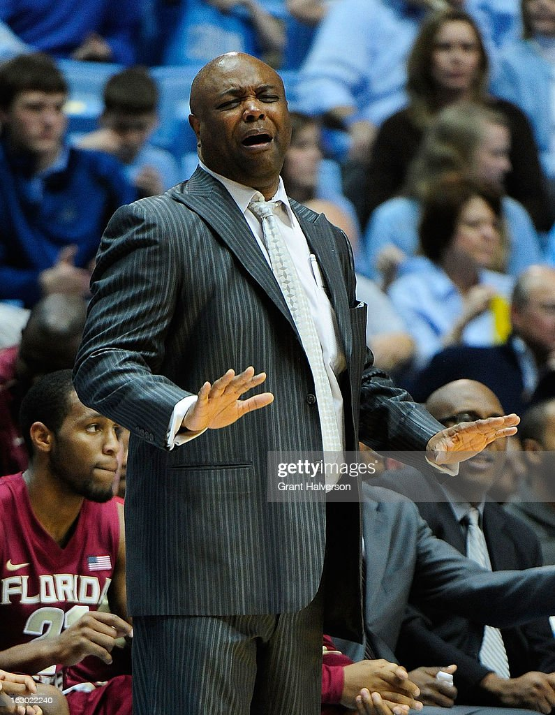 Coach Leonard Hamilton of the Florida State Seminoles reacts during a loss to the North Carolina Tar Heels at Dean Smith Center on March 3, 2013 in Chapel Hill, North Carolina. North Carolina won 79-58.