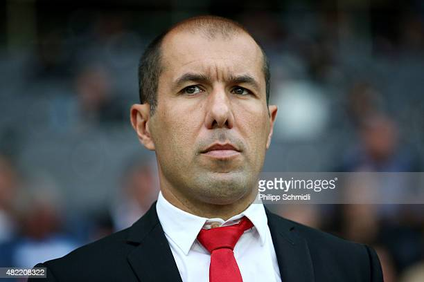 Coach Leonardo Jardim of AS Monaco looks on prior to the UEFA Champions League third qualifying round 1st leg match between BSC Young Boys and AS...