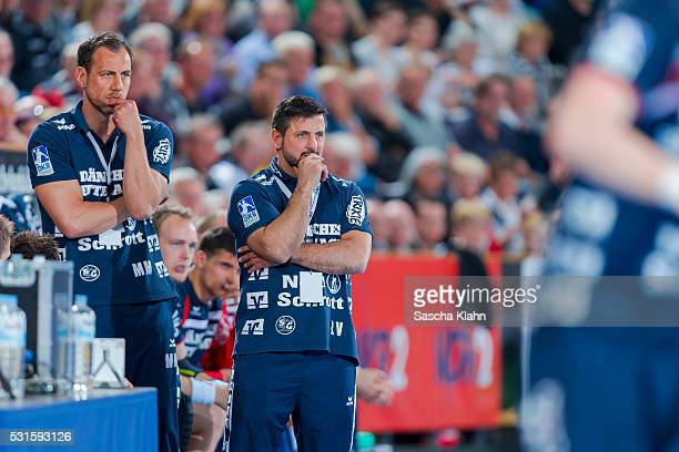 Coach Ljubomir Vranjes and his assistent Maik Machulla of SG FlensburgHandewitt during the DKB HandballBundesliga match at SparkassenArena on May 15...