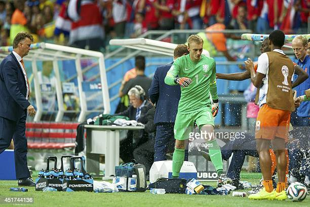 coach Louis van Gaal of Holland goalkeeper Jasper Cillessen of Holland during the FIFA Worlf Cup quarter final match between Netherlands and Costa...
