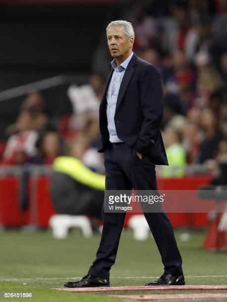coach Lucien Favre of OCG Nice during the UEFA Champions League third round qualifying first leg match between Ajax Amsterdam and OGC Nice at the...