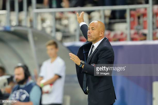 coach Luigi Di Biagio of Italy gestures during the UEFA U21 championship match between Italy and Germany at Krakow Stadium on June 24 2017 in Krakow...